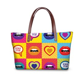3D Colorful Lips with Hearts Waterproof Sturdy Printed for Women Girls Shoulder HandBag
