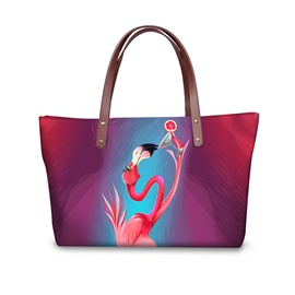3D Elegant Flamingo Drinking Wine Printed Waterproof Sturdy Shoulder HandBag