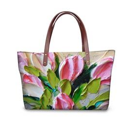 Colourful Blooming Tulips Waterproof Sturdy 3D Printed for Women Girls Shoulder HandBag