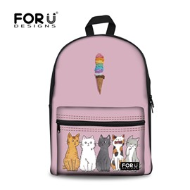 Cats and Ice Cream Cartoon Pink Waterproof Washable Outdoor Travel Bags for Child and Adults