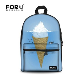 Blue Sky Ice Cream Fabric School Backpack Bags 3D Printed Backpack