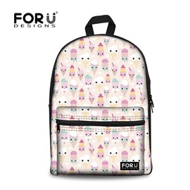 Cute Smile Ice Cream Pattern High Quality 3D Printed Backpack School Bag