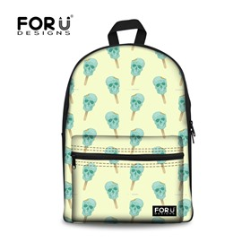 Skeleton Ice Cream Pattern Outdoor Waterproof 3D Printed Backpack