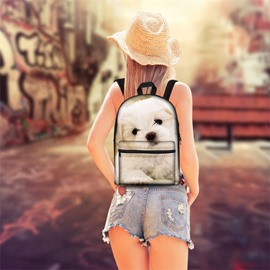 Adorable Puppy Dog 3D Pattern School Outdoor for Man&Woman Backpack
