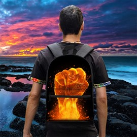 3D Pattern School Fist Fire Black Outdoor for Man&Woman Backpack