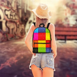 3D Pattern Colorful Lattice School Outdoor for Man&Woman Backpack