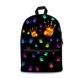 3D Cool Style Colorful Handprint with Black Bottom Color Pattern Washable Lightweight School Outdoor Backpack
