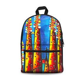 Abstract Oil Painting Blue Bottom Color Pattern Washable Lightweight 3D Printed Backpack