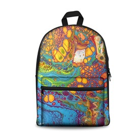 3D Cool Style Blue and Yellow Circles Abstract Pattern Washable Lightweight School Outdoor Backpack