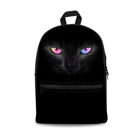 Black Cat with Sparking Eyes 3D Pattern School Outdoor for Man&Woman Backpack