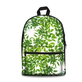 Kids School Backpack For Boys & Girls 3D Green Leaves Print Design
