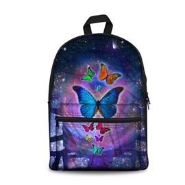 3D Galaxy Magic Butterflies Pattern School Outdoor for Man&Woman Backpack