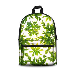 3D Modern Style Simplify Green Leaves Print Backpack School Bags Cool Casual Laptop Packs
