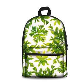 3D Modern Style Simplify Green Leaves Print Backpack School Bags Cool Casual Laptop Packs