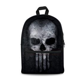 Black Bottom Color with Skull Pattern Washable Lightweight 3D Printed Backpack