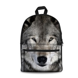 3D Vivid Grey Grimness Wolf Pattern Washable Lightweight 3D Printed Backpack
