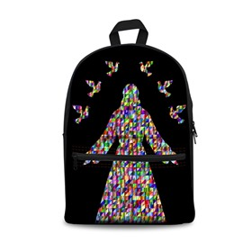 Pixel Magic Jesus Black Bottom Color 3D Pattern School Outdoor for Man&Woman Backpack