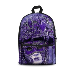 Beauty with Purple Mask Pattern Washable Lightweight 3D Printed Backpacks