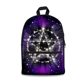 3D Purple Galaxy Five-pointed Star School Backpack for Boys Girls Fashion Durable Book Bag