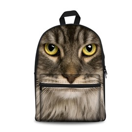 3D Cat Face Pattern School Outdoor Grey Cool Style Backpack