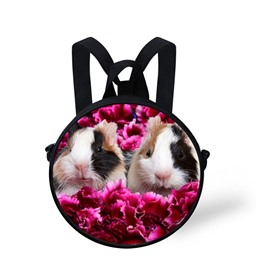 3D Two Mice Looking from Red Flower Polyester Outdoor Packback