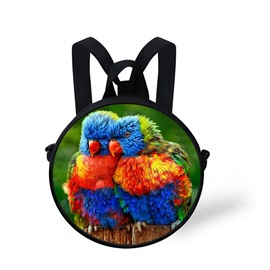 3D Couple Colorful Parrots Snuggle Together Polyester Outdoor Packback