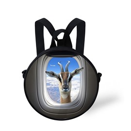 3D Goat Seeing Curiously from Window Polyester Outdoor Backpack