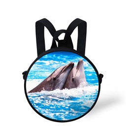 Round 3D Dolphin Pattern School Bag Shoulders Backpack