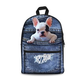 3D French Bulldog Design Fashion Pattern School Outdoor Backpack