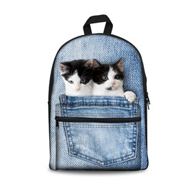 3D Twins Cat Design Fashion Pattern School Outdoor Backpack
