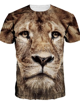 Vivid Round Neck Lion Pattern 3D Painted T-Shirt