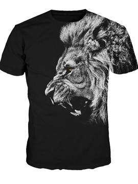 Super Cool Round Neck Lion Pattern Black 3D Painted T-Shirt