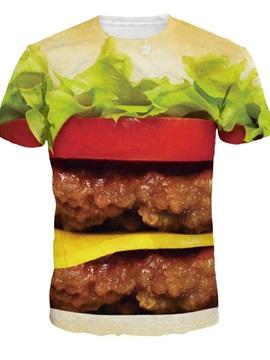 Vivid Round Neck Hamburger Pattern 3D Painted T-Shirt