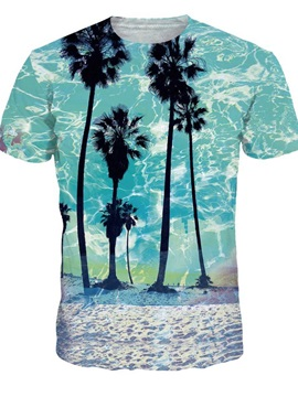 Bright Round Neck Coconut Trees Pattern 3D Painted T-Shirt