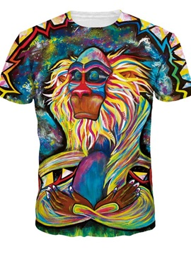 Creative Round Neck Special Orangutan Pattern 3D Painted T-Shirt