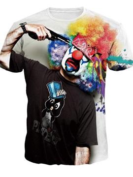 Unisex Clown Suicide Casual Crewneck 3D Pattern T-Shirt