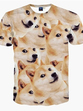 Unisex Funny Big Dog Face Short Sleeve Casual 3D Pattern T-Shirt