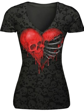 Red Skull Heads with Skeleton Polyester V-Neck Black Female 3D T-Shirts