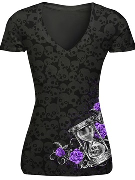 Black Hourglass with Purple Rose Printing Polyester V-Neck Female 3D T-Shirts