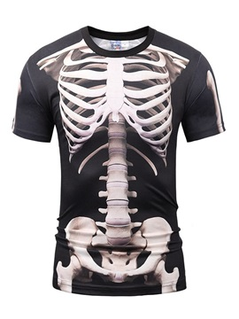 Black Skeleton Printing Polyester Sports Round Neck Men's 3D T-Shitrs