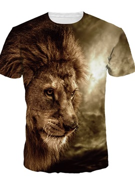 Cool Lion Short Sleeve Round Neck 3D Painted T-Shirt