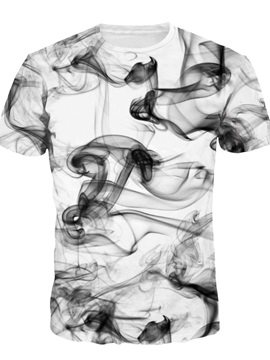 Ink Painting Short Sleeve Round Neck 3D Painted T-Shirt