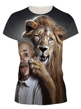 Cute Lion Play With Einstein Round Neck 3D Painted T-Shirt