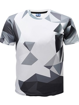 Men Fashion Geometric Round Neck 3D Graphic Print Short Sleeve Tee Tops T-Shirt