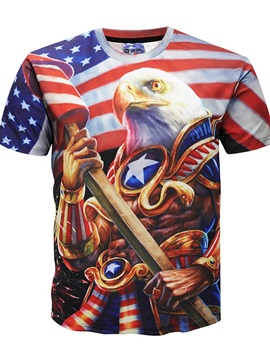 3D American Flag Style Print Round Neck Men Graphic Short Sleeve Tee Tops T-Shirt