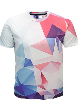 Geometric Print Short Sleeve Round Neck Men 3D Graphic Tee Tops T-Shirt
