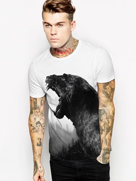 Animal Pattern Summer Round Neck Straight Model 3D T-shirt