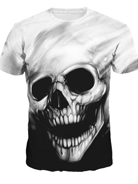 Skull Pattern Moderate Elasticity Polyester Material 3D T-shirt