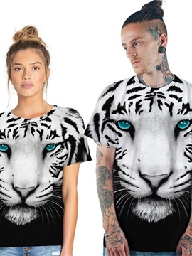 Modern Round Neck Leopard Face Pattern 3D Painted T-Shirt