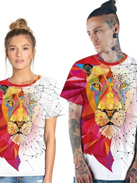 Modern Round Neck Lion Pattern 3D Painted T-Shirt